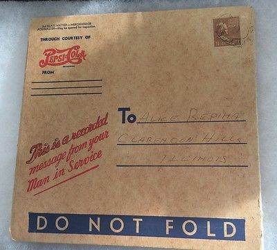 WWII Pepsi-Cola 45 Record Voice Recording Of Your Man In Service Original Mailer
