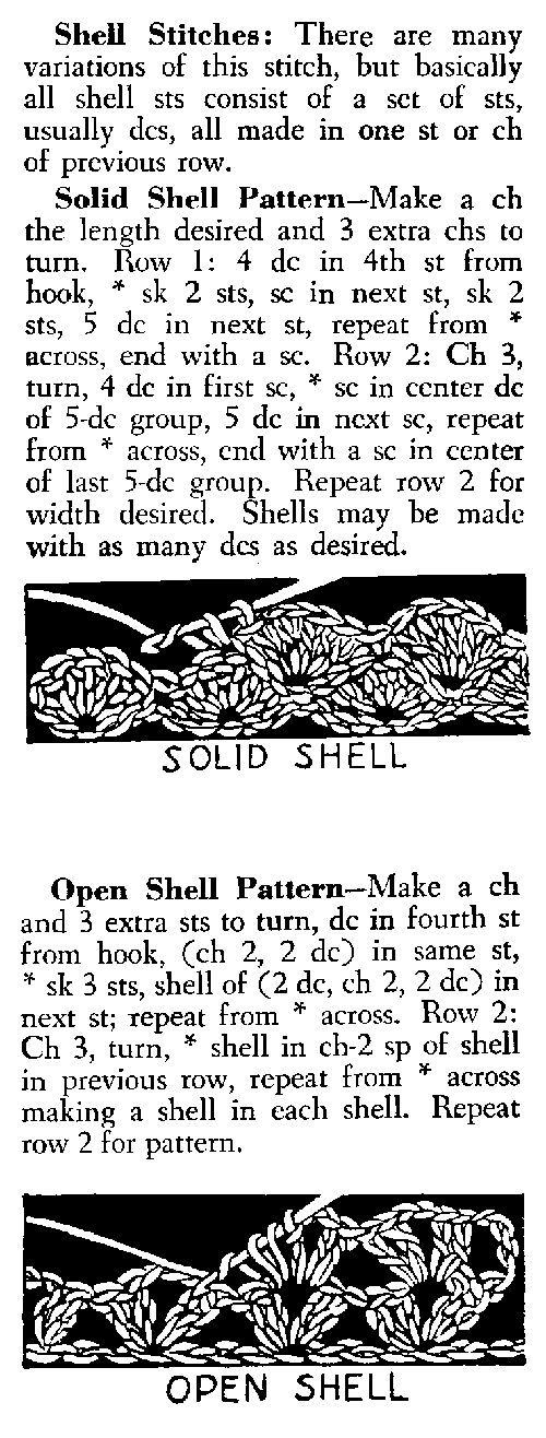 Shell Stitch and Open Shell Stitch:  The shell stitch makes gorgeous afghans, I use it all the time, and it works up so fast with an H or I hook.  Any colors, any size stripes, it's really versatile.