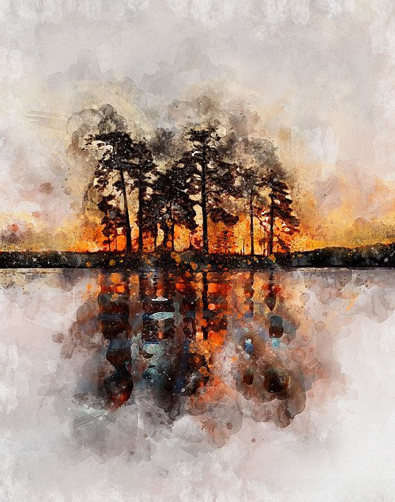 Abstract Trees On Water Orange Cream And Black Reflection Calm