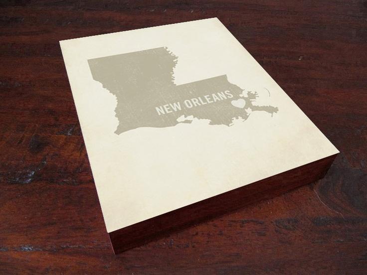 I Love New Orleans Louisana - Wood Block Art Print. $39.00, via Etsy.
