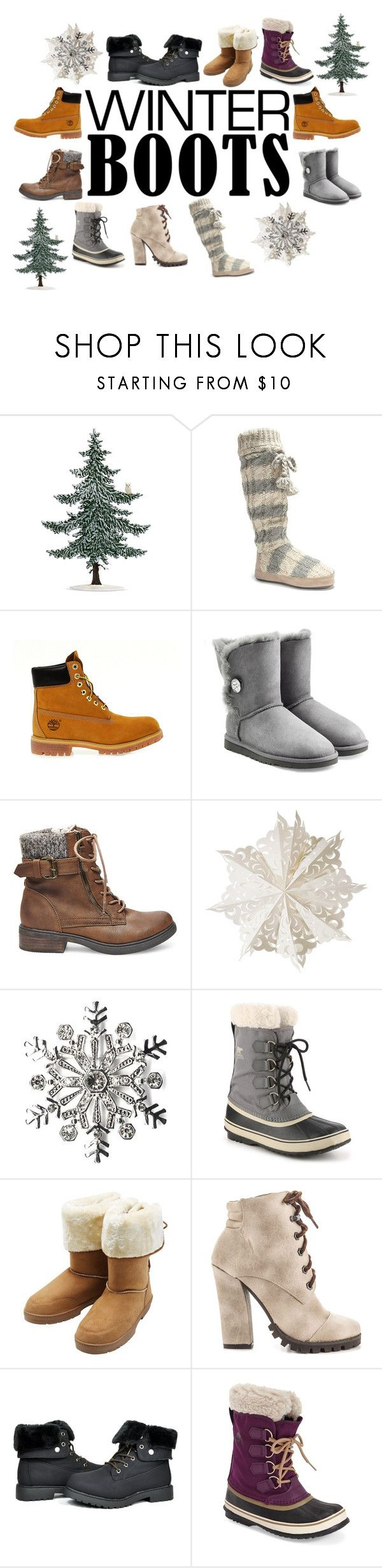 """""""Beautiful Winter Boots"""" by daphnee2ada2collier ❤ liked on Polyvore featuring Muk Luks, Timberland, UGG Australia, Steve Madden, Dot & Bo, Kim Rogers, SOREL, M&Co and Michael Antonio"""