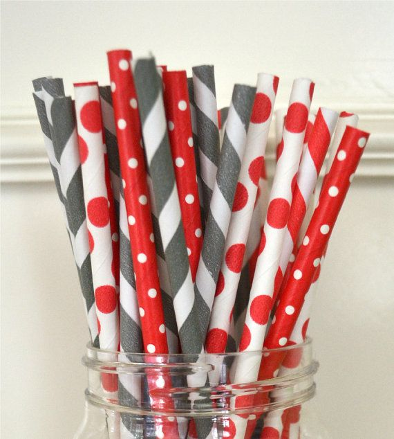 Sock Money Paper Straws Red and Gray Drinking by TheSimplyChicShop, $1.28