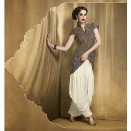 Off White & Blue Faux Georgette Salwar Kameez