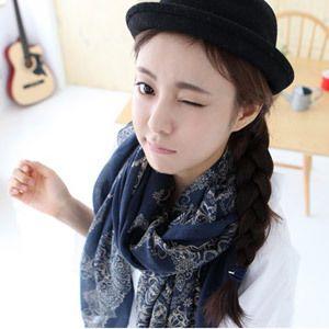 Шарф женский синий и белый фарфор винтаж печать негабаритных шарф шелковый шарф весна и лето солнце мыс