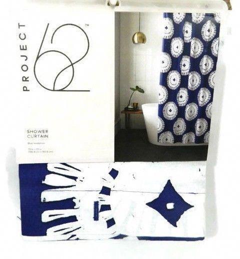 Project 62 Shower Curtain Navy Blue Medallion 72 X 72 Bath Fabric
