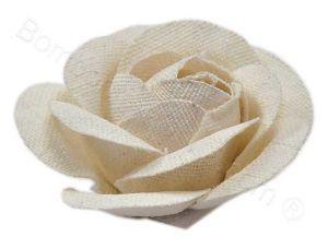 Fiore Rosa tessuto di juta colore panna
