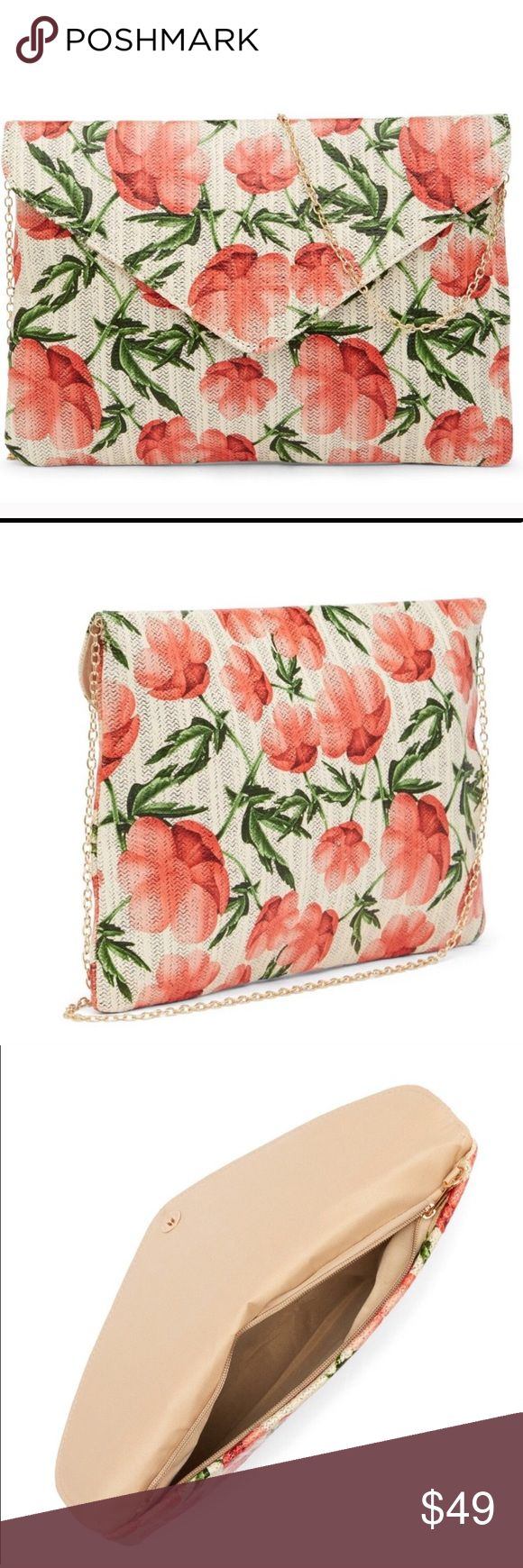 Spring Floral Straw Clutch Fold over closure comes with strap 11.5 W x 7.75 H x 1.5 D Pink Haley Bags Clutches & Wristlets