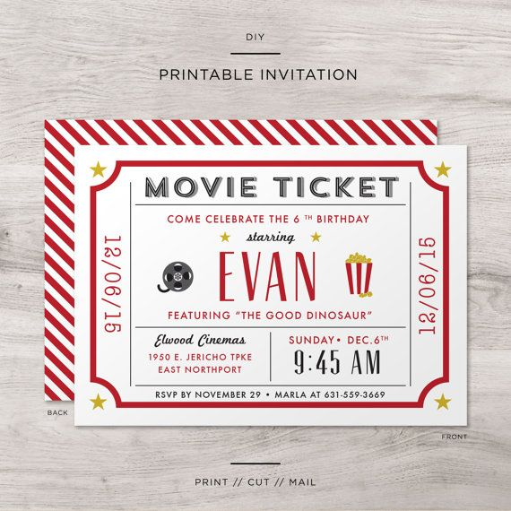 81 best Hollywood Style Birthday images on Pinterest Birthdays - movie ticket invitations template