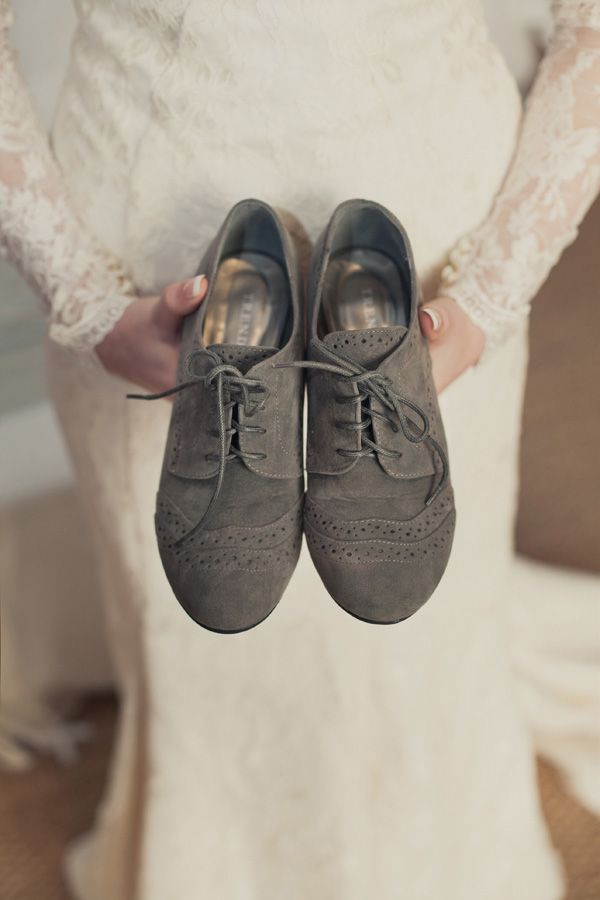 Gray suede oxfords for the bride! Photo by Catherine Mac