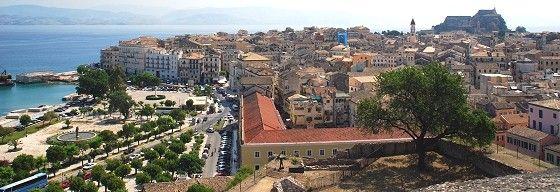 Kerkyra - Blick von der neuen Festung über Korfu Stadt in Richtung neue Festung