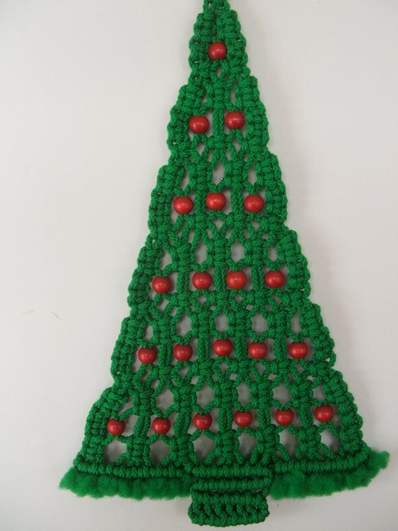 Vintage Macrame Christmas Tree Wall Hanging Trees