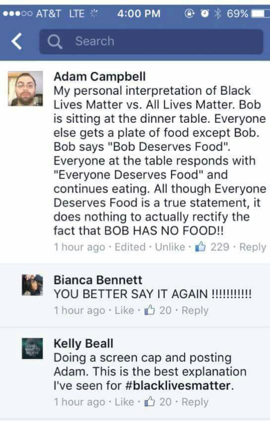 Great explanation of Black Lives Matter vs All Lives Matter.