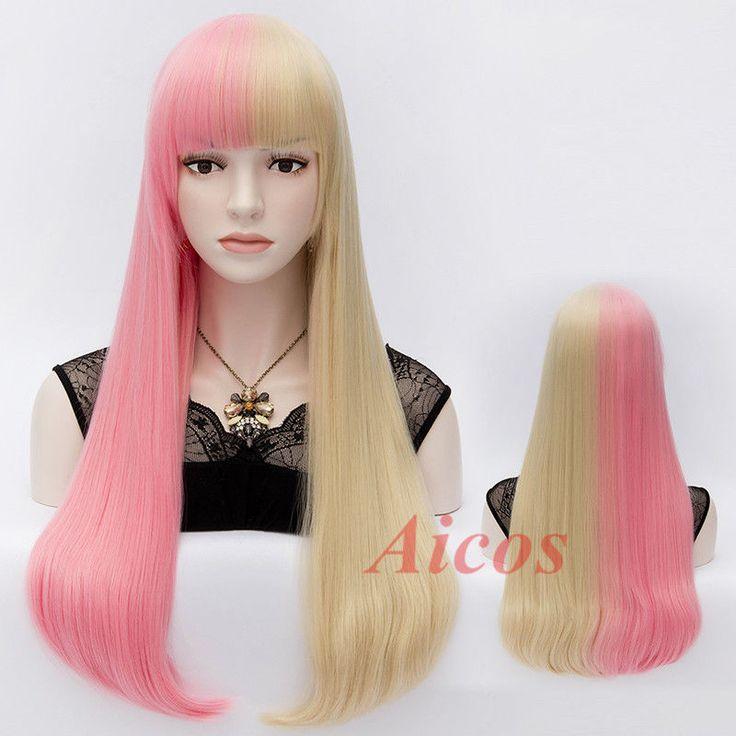 NICKI MINAJ LONG PINK & Blonde TWO TONE STRAIGHT SUPER BASS FASHION WIG + cap #Aicos #FullWig
