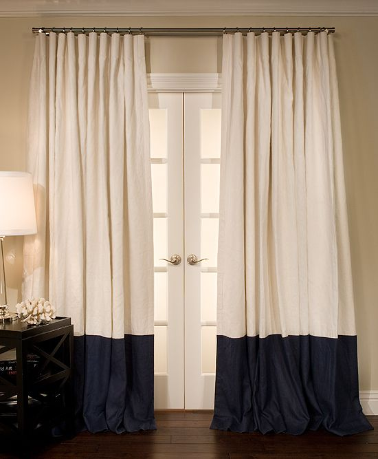 Bordered Linen Custom Drapes
