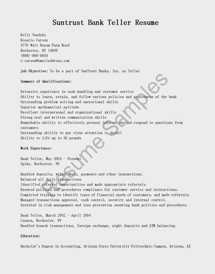 resume samples suntrust bank teller sample position writing