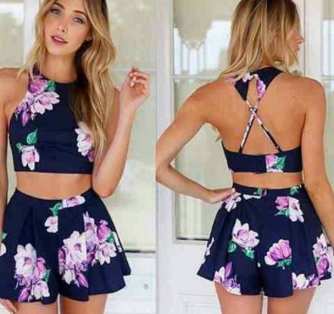 0b1e848488 Navy blue purple green floral sleeveless x back halter crop top two piece  short romper