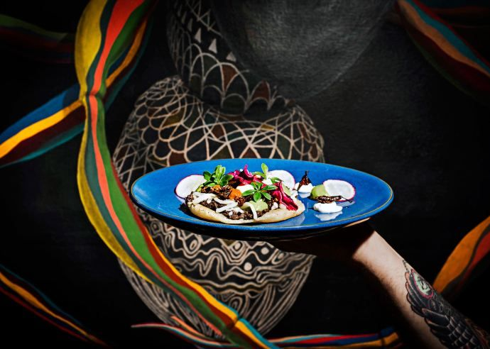 """""""At the Black Ant, in the East Village, the house guacamole varies; it has been studded with garbanzo beans, fried corn, orange slices, jicama, radishes, and even cheese. But it is always finished with ants."""" http://nyr.kr/1J8jsP0 Photograph by Dina Litovsky"""