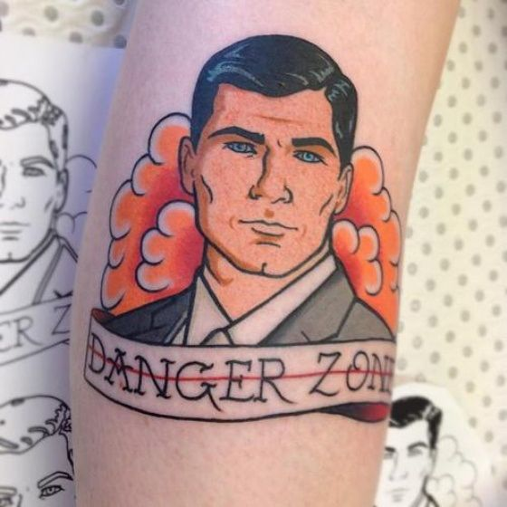 Sterling Archer Danger Zone Tattoo. I'm not sure if I would ever get this but. man, it is awesome! DANGER ZONE!