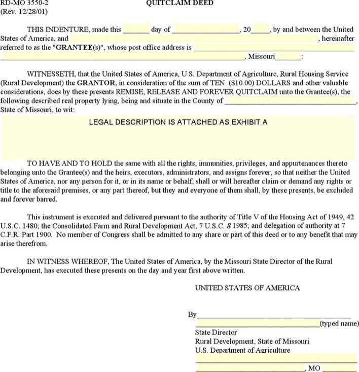 Download And Create Your Own Document With Missouri Quitclaim Deed