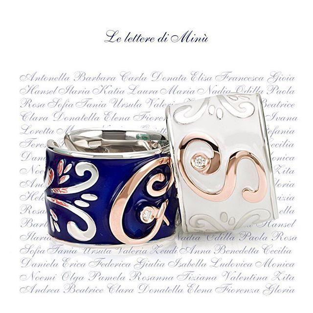 Dillo a chiare lettere. Il #monogramma in #oro sugli #anelli della collzione Le lettere di #Minù è un ottimo stratagemma. #giovanniferraris #gioielli #argento #diamante