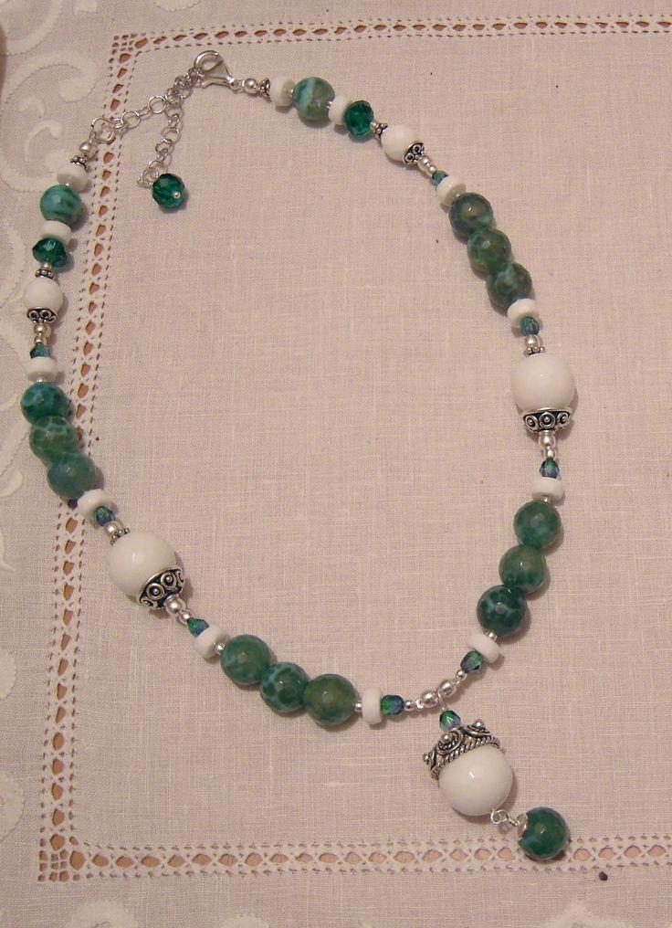 agata di fuoco verde, agata bianca, argento 925 - Marina Caproni