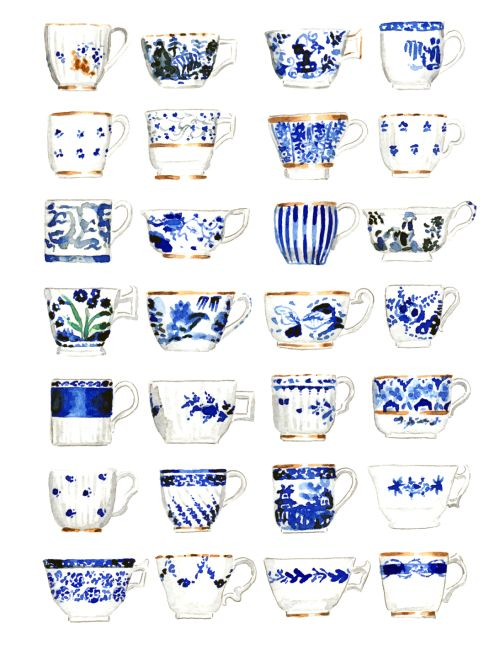 >> Blue and White Teacups<< I love blue and white vintage patterns, especially florals.