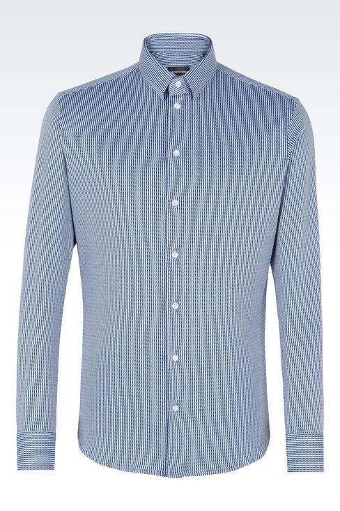 РУБАШКА ИЗ ТЕКСТУРНОГО ХЛОПКОВОГО ДЖЕРСИ  : Рубашки с длинными рукавами Для Мужчин by Armani - 1