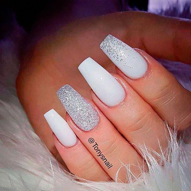 White Coffin Nails With Glitter Ring Finger Nail Care Products Market White Acrylic Nails White Glitter Nails Trendy Nails