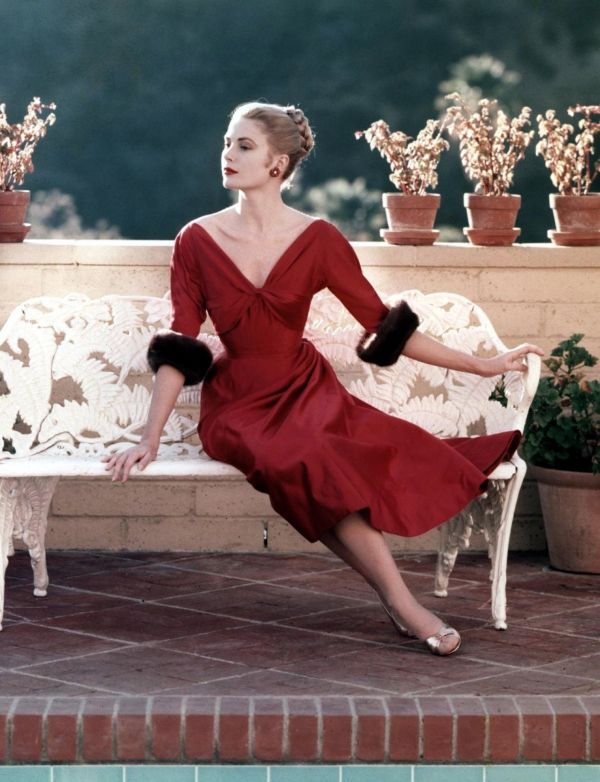 Grace Kelly in red by Howell Conant, 1955