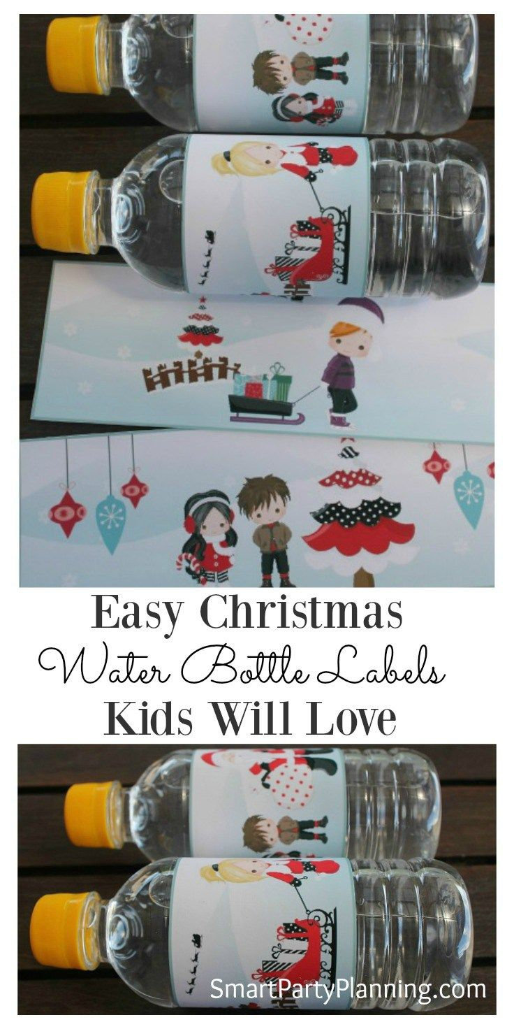 Christmas water bottle labels are a great way to create a bit of excitement for the kids when they open their school lunches. Even if you are not normally into crafting, printable's are SO easy to use and make a huge impact. They are also great to use as favors if you are having a Christmas party. #Christmas #Kids #Waterbottlelabels #Printable