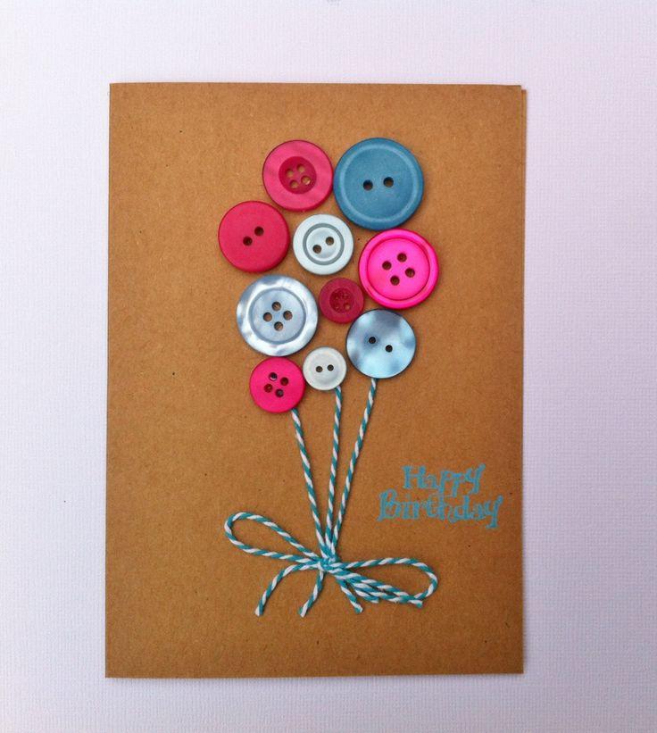 Button Balloon Cards - Handmade Birthday Card - Happy Birthday - Handmade by HandmadeByLana on Etsy