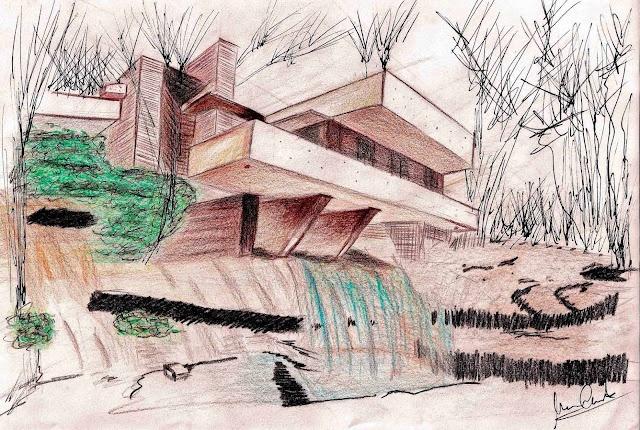 Dibujando con lapices de colores ... La Casa de la Cascada - Frank Lloyd Wright ~ Minteriorismo Design