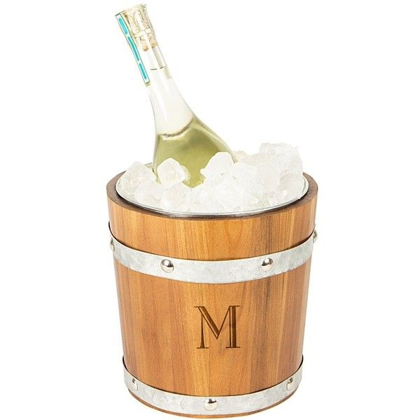 Cathy's Concepts Rustic Monogram Ice Bucket ($84) ❤ liked on Polyvore featuring home, kitchen & dining, bar tools, m, monogrammed ice bucket, beer bucket, monogrammed champagne bucket and beer ice bucket