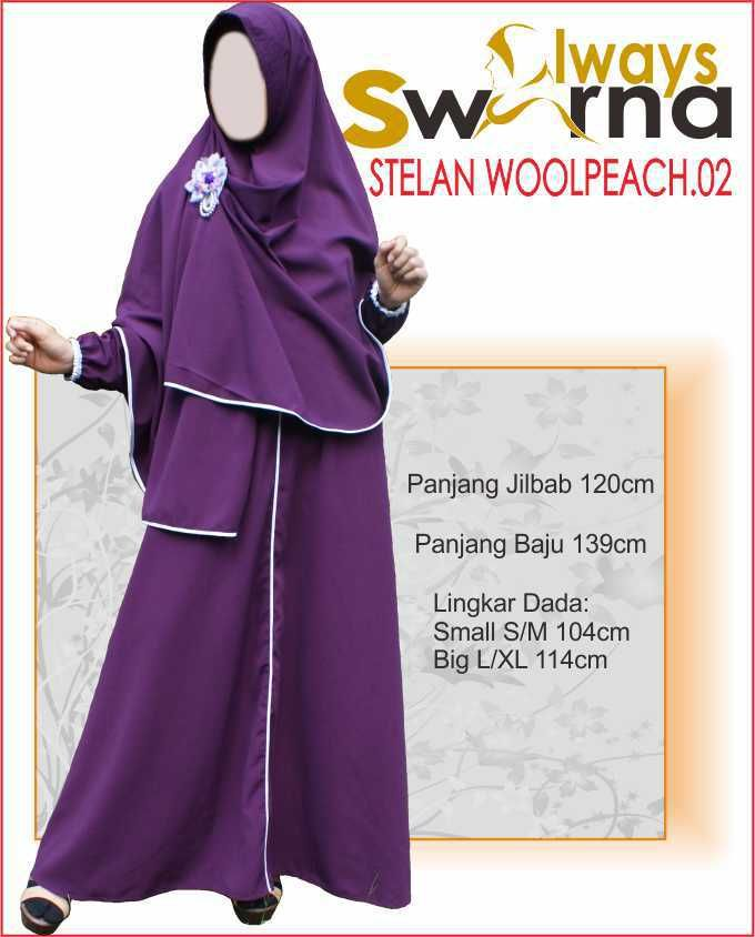 Baju Gamis Wanita Syar'i – Model Busana Muslim- Always Swarna stelan woolpeach.02 – ungu tua