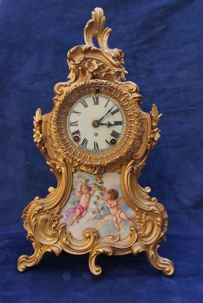 ANTIQUE FRENCH STYLE HAND PAINTED ANSONIA TRIANON MANTEL CLOCK WITH CHERUBS