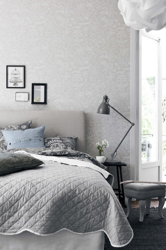 Grey, White and Blue Bedroom! The blue is a perfect accent color