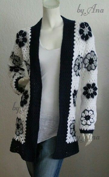 crochet jacket <3 crochet cardigan- granny squares- african flowers  www.pinterest.com/Maschenraabe/selfmade-crochet/
