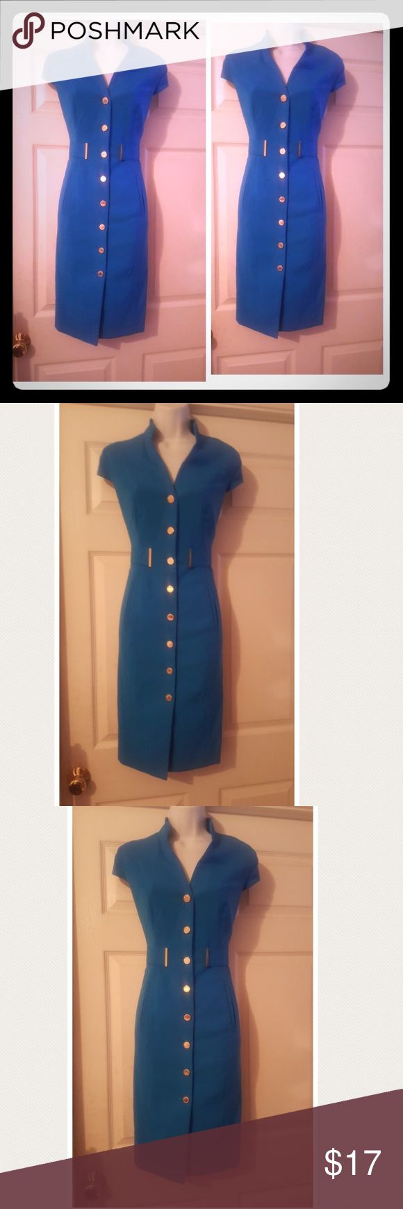 Jade blue Calvin Klein military sheath dress Beautiful Jade blue Calvin Klein military sheath dress with gold buttons that button down the front and cap sleeves.  Dress is in excellent condition, but dry cleaning would make it like brand new off the rack. If i dry cleaned it would at to the price. Calvin Klein Dresses