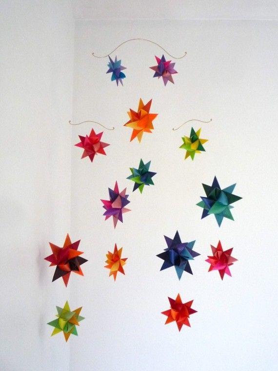 Hanging Nursery Origami Star Mobile 'Vela' Rainbow by theStarcraft, $44.00