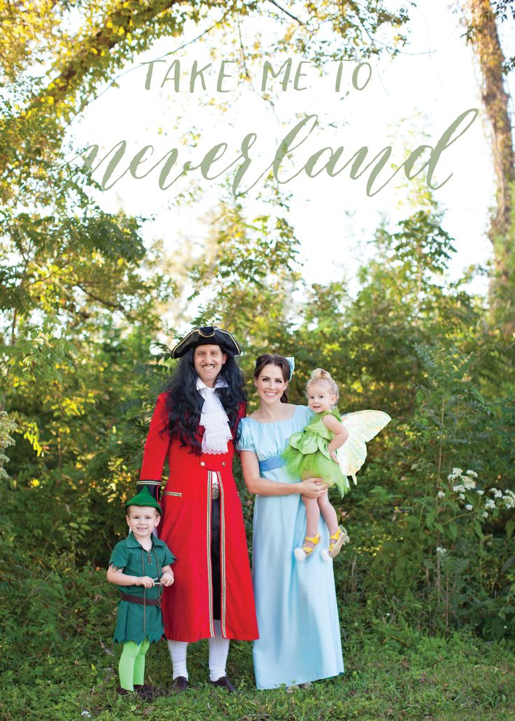 Family costume - Peter Pan, Wendy, Tink, Captain Hook, Lost Boys, Smee, John and Michael, Mermaids, Tiger Lily, Nana, Mr & Mrs. Darling
