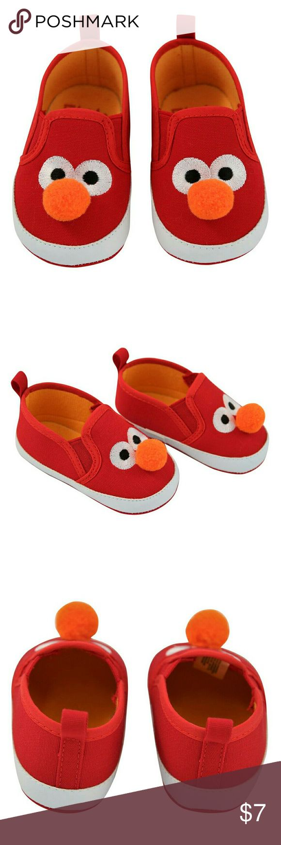 Baby Sesame Street Elmo Crib Shoes Bright red crib shoes feature the face of Elmo! Complete with an orange pom-pom for the nose. 100% cotton upper and sole help feet to breathe. Recommended for ages 6-9 months. Sesame Street Shoes Baby & Walker