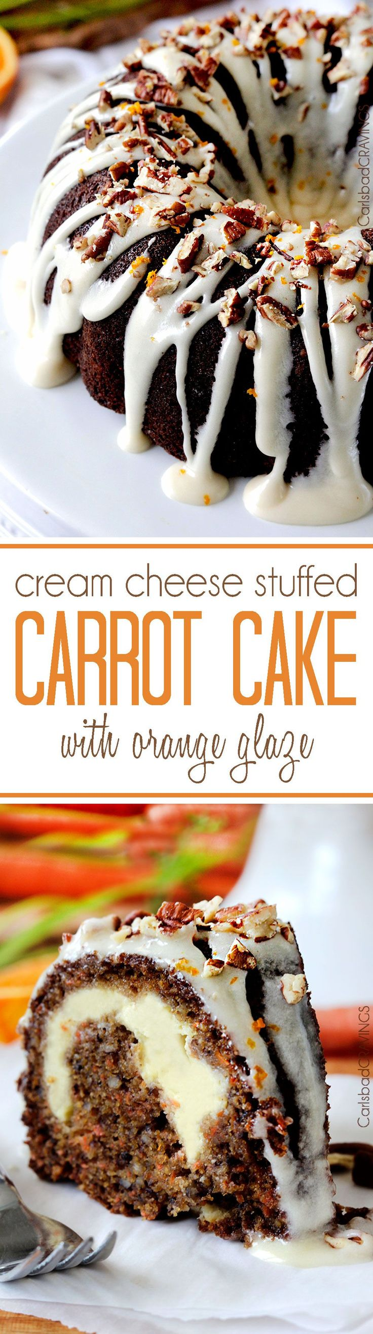 Super moist, spiced Carrot Cake stuffed with sweet Cream Cheese Filling and…