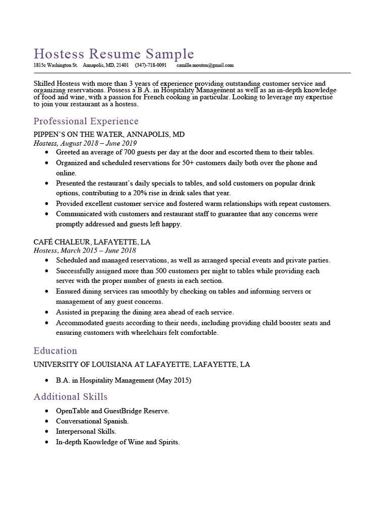 Hostess resume sample expert writing tips resume