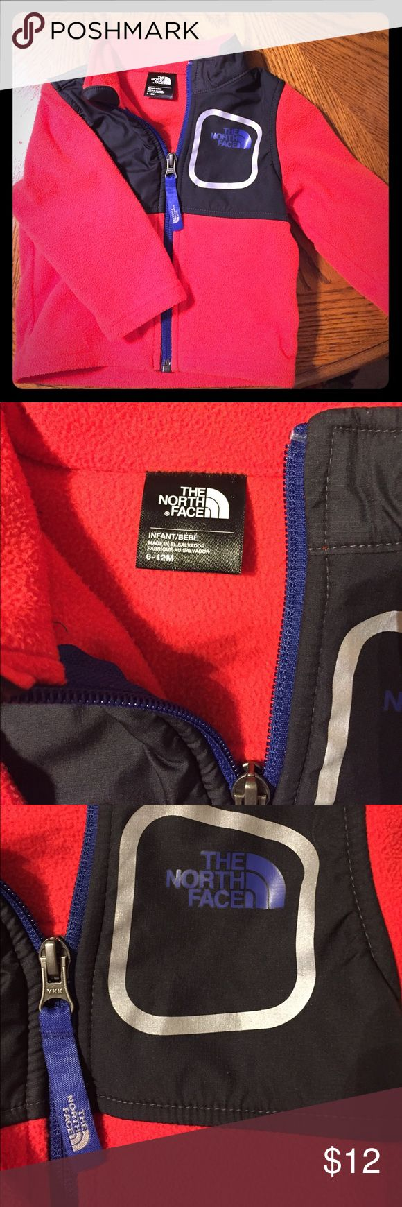The north face fleece jacket RED 6-12 mos This is a red north face fleece jacket for babies. 6-12 months . Authentic ! Only worn a few times. Great condition. The North Face Jackets & Coats