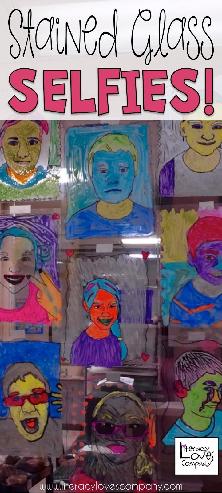 Add some color and fun to your classroom with Stained Glass Selfies. This blog post takes you step by step through the art project with full color photos.