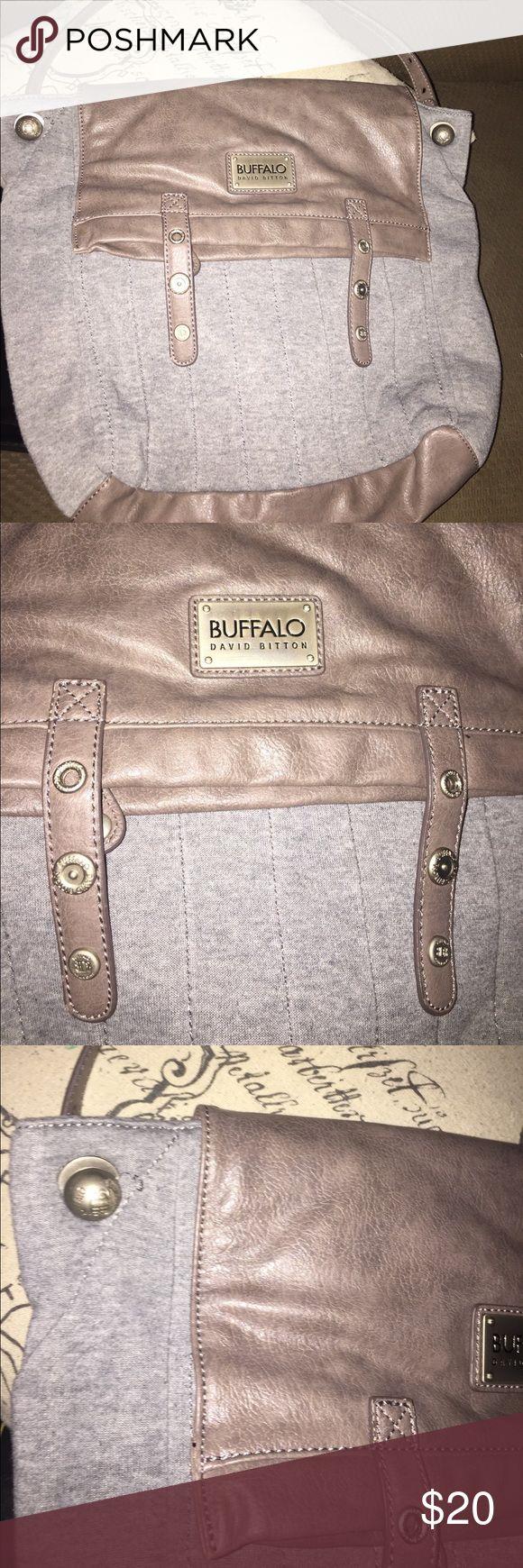 "Buffalo David Bitton satchel bag Buffalo David Bitton satchel bag, grey knit, vegan leather, nickel hardware. 12"" x  12"" Buffalo David Bitton Bags Satchels"