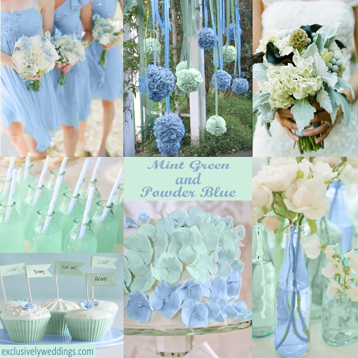 Soft hues ... Mint with Powder Blue wedding colors.