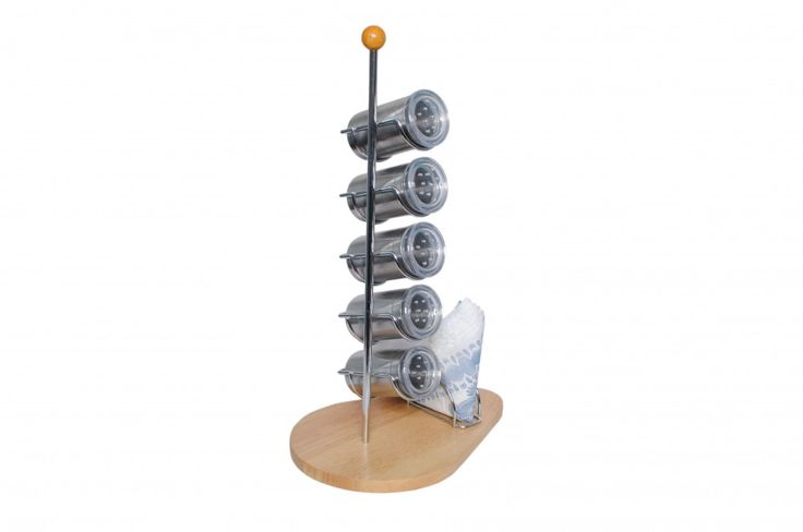Henchman India Spice Rack With Wooden Stand & Napkin Holder in Silver Color