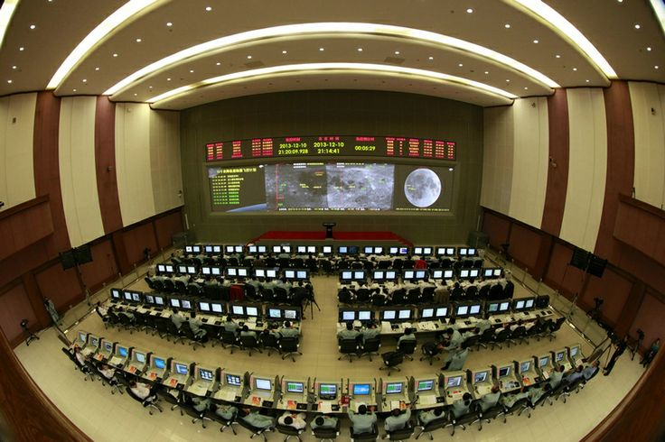 This image shows the view inside China's mission control center in Beijing for the Chang'e 3 moon lander and rover mission in December 2013.