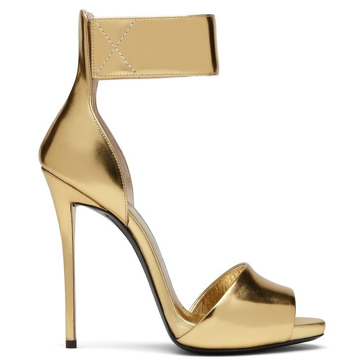"""Shoe du Jour"" 11.20.14 Giuseppe Zanotti Gold Mirror Ankle Cuff Sandals « Shoefessional"